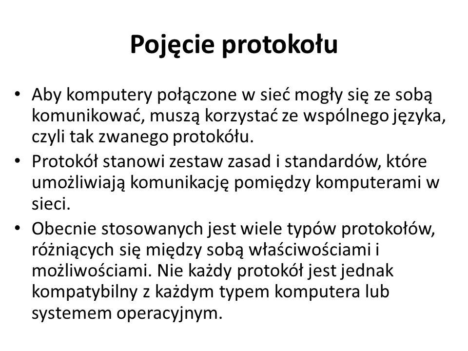 Pojęcie protokołu Aby komputery połączone w sieć mogły się ze sobą komunikować, muszą korzystać ze wspólnego języka, czyli tak zwanego protokółu. Prot