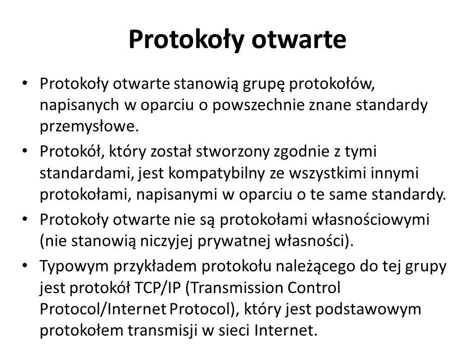 Protokoły otwarte Protokoły otwarte stanowią grupę protokołów, napisanych w oparciu o powszechnie znane standardy przemysłowe. Protokół, który został