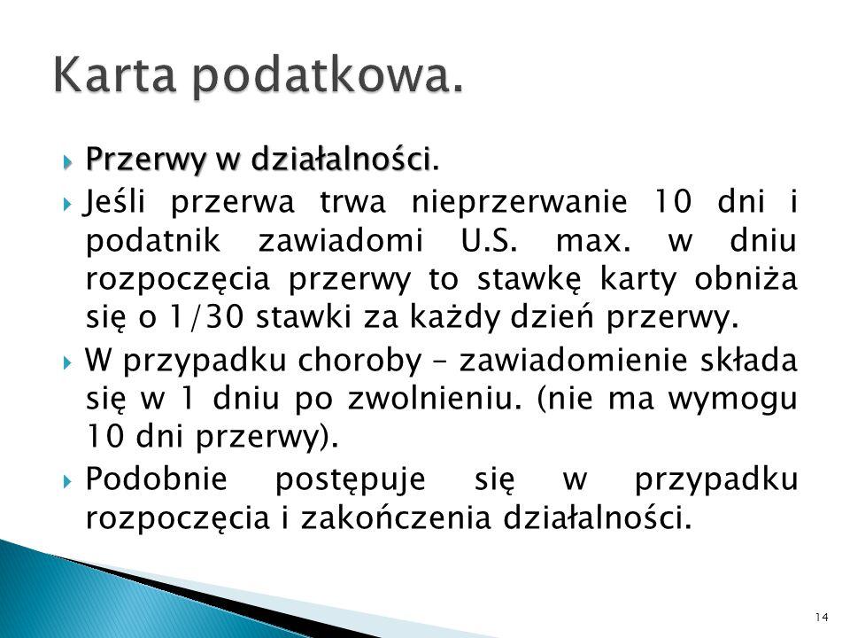  Przerwy w działalności  Przerwy w działalności.