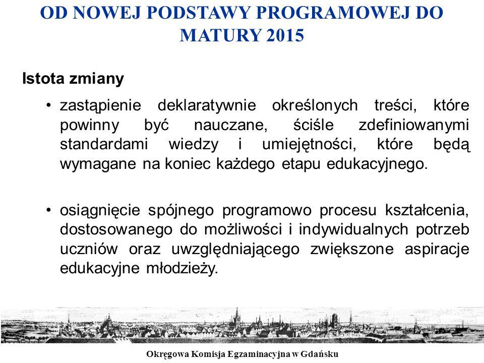 Okręgowa Komisja Egzaminacyjna w Gdańsku OD NOWEJ PODSTAWY PROGRAMOWEJ DO MATURY 2015 Istota zmiany zastąpienie deklaratywnie określonych treści, któr