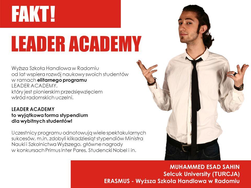 Wyższa Szkoła Handlowa w Radomiu od lat wspiera rozwój naukowy swoich studentów w ramach elitarnego programu LEADER ACADEMY, który jest pionierskim przedsięwzięciem wśród radomskich uczelni.