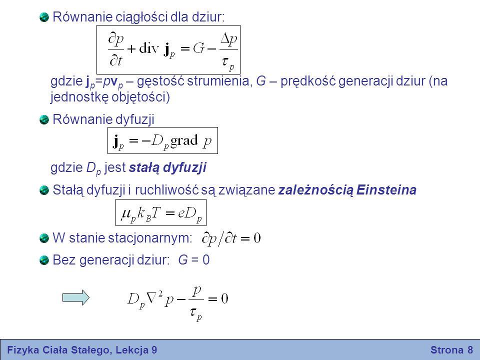 Fizyka Ciała Stałego, Lekcja 9 Strona 9 W modelu jednowymiarowym: Rozwiązanie pod warunkiem, że p=0 w x=∞ : gdzie Analogiczne wyrażenie otrzymujemy dla elektronów: – droga dyfuzji dziur – droga dyfuzji elektronów