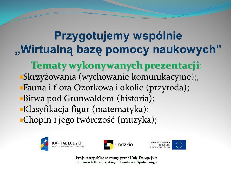 """Przygotujemy wspólnie """"Wirtualną bazę pomocy naukowych"""" Tematy wykonywanych prezentacji Tematy wykonywanych prezentacji: Skrzyżowania (wychowanie komu"""