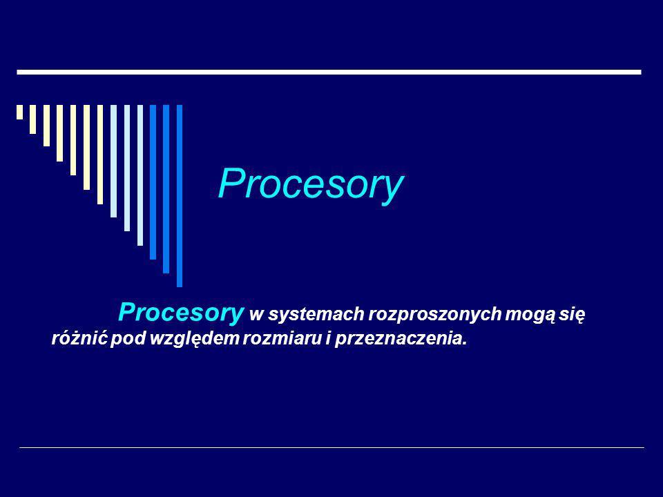 Procesory Procesory w systemach rozproszonych mogą się różnić pod względem rozmiaru i przeznaczenia.