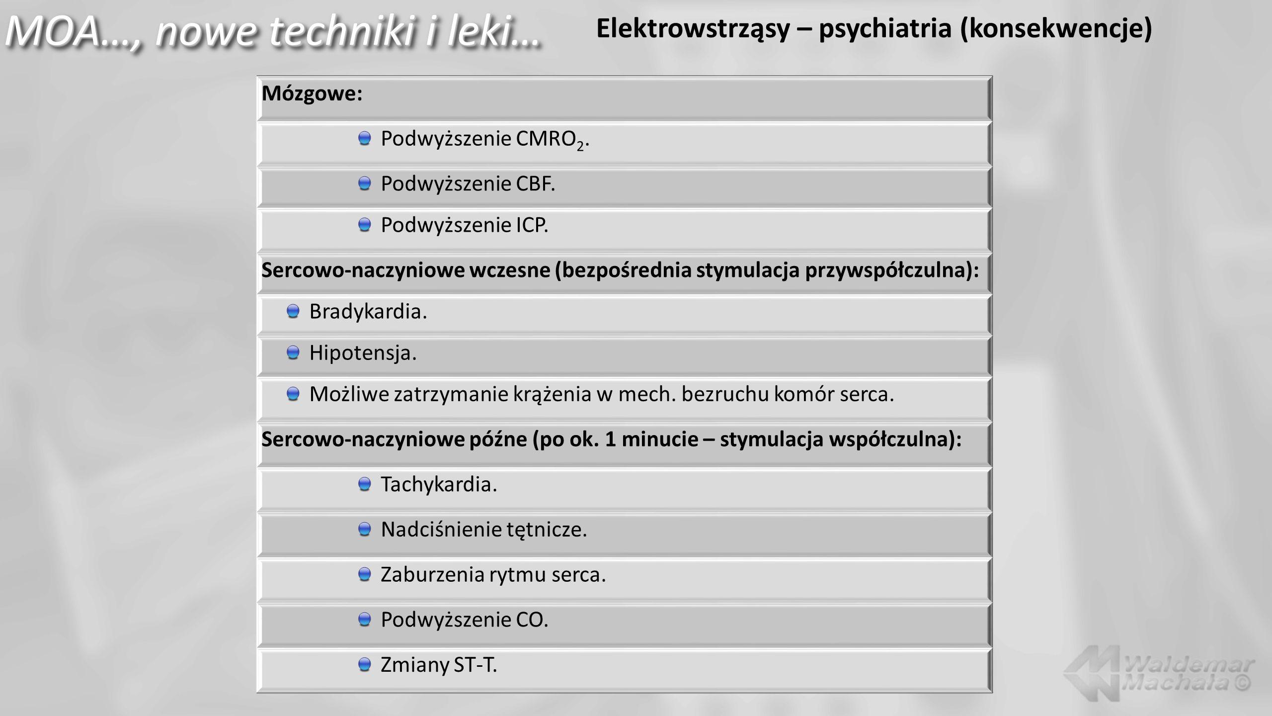 MOA…, nowe techniki i leki… Elektrowstrząsy – psychiatria (konsekwencje) Mózgowe: Podwyższenie CMRO 2. Podwyższenie CBF. Podwyższenie ICP. Sercowo-nac
