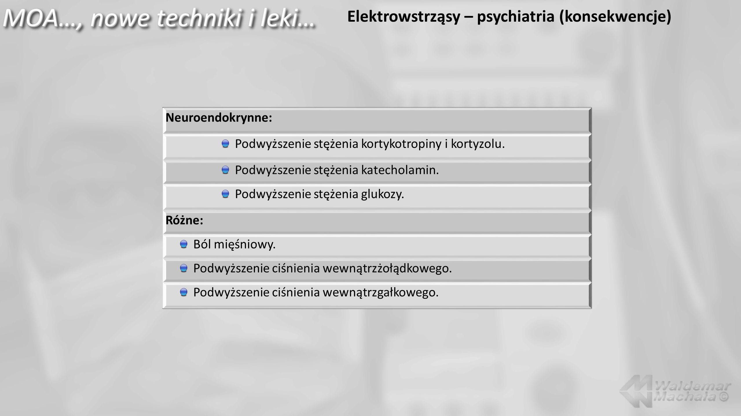 MOA…, nowe techniki i leki… Elektrowstrząsy – psychiatria (konsekwencje) Neuroendokrynne: Podwyższenie stężenia kortykotropiny i kortyzolu. Podwyższen