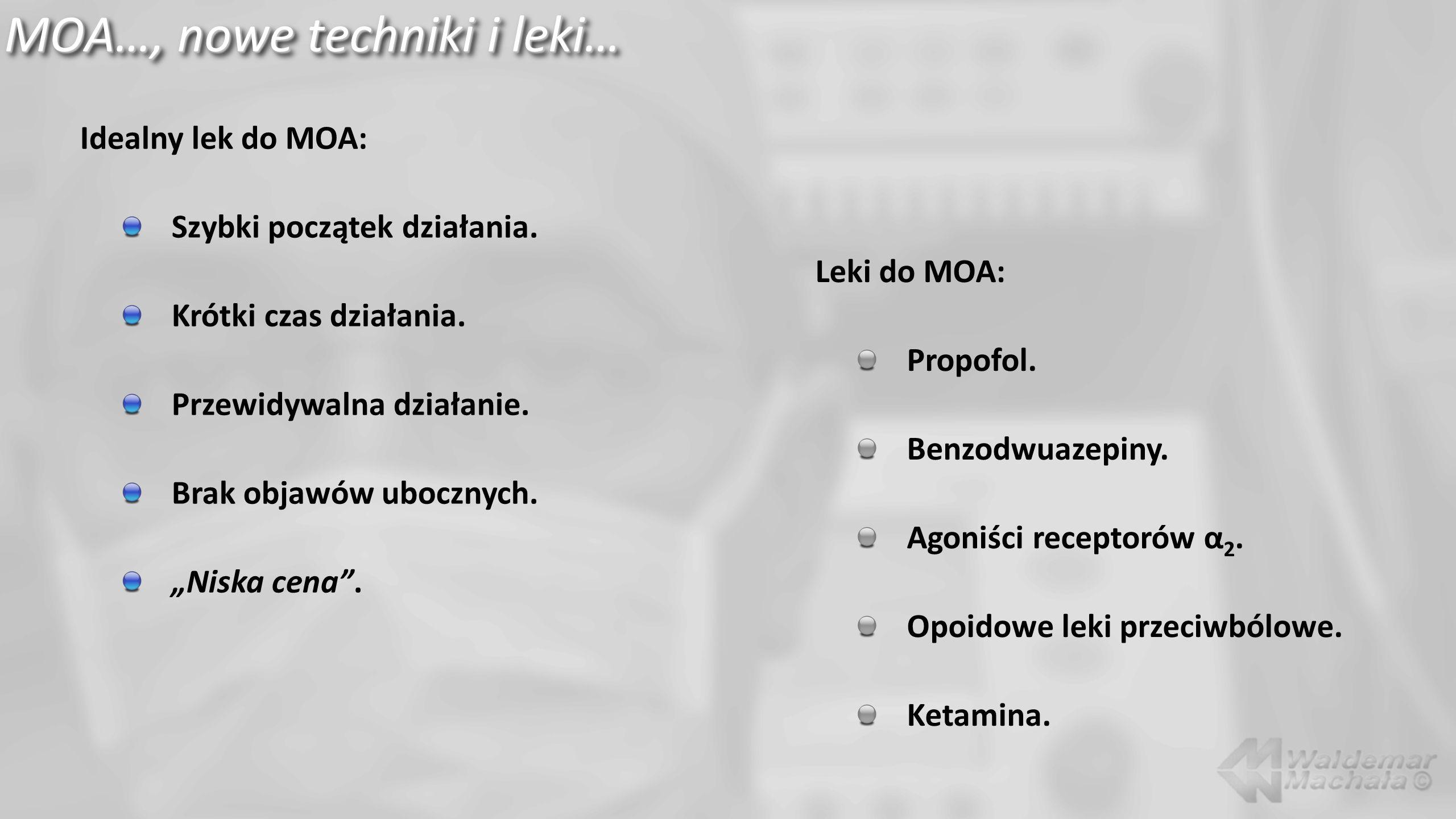 """MOA…, nowe techniki i leki… Idealny lek do MOA: Szybki początek działania. Krótki czas działania. Przewidywalna działanie. Brak objawów ubocznych. """"Ni"""