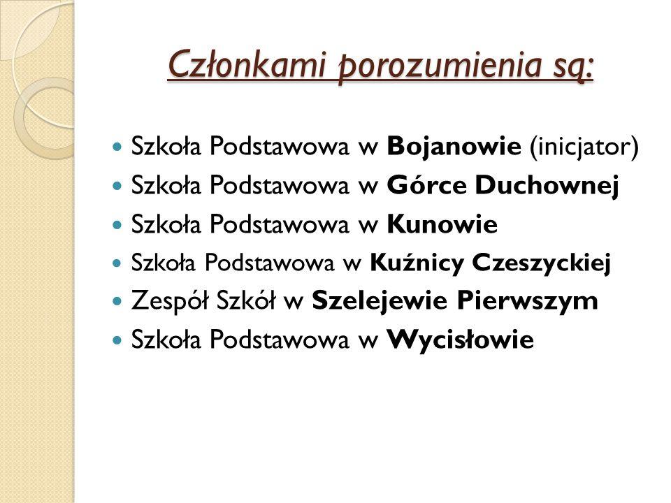 Członkami porozumienia są: Szkoła Podstawowa w Bojanowie (inicjator) Szkoła Podstawowa w Górce Duchownej Szkoła Podstawowa w Kunowie Szkoła Podstawowa