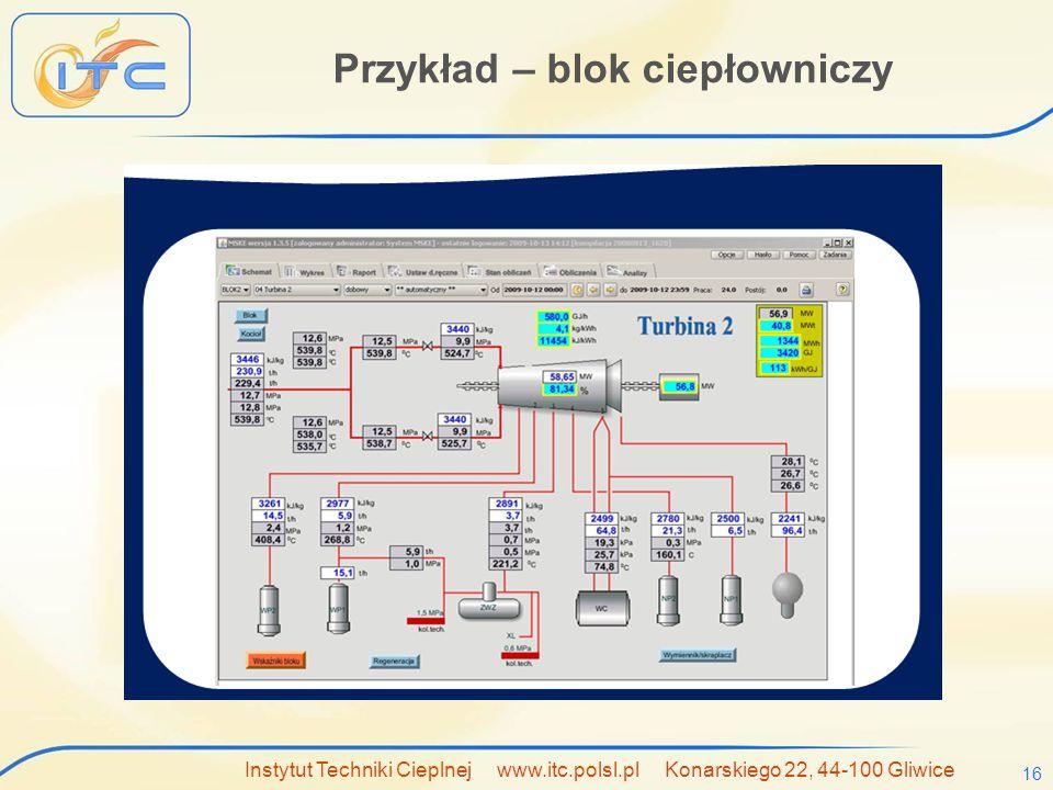Instytut Techniki Cieplnej www.itc.polsl.pl Konarskiego 22, 44-100 Gliwice 16 Przykład – blok ciepłowniczy