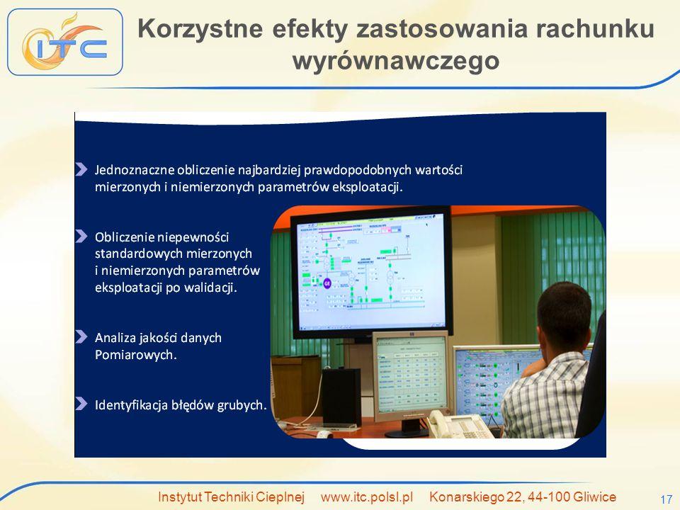 Instytut Techniki Cieplnej www.itc.polsl.pl Konarskiego 22, 44-100 Gliwice 17 Korzystne efekty zastosowania rachunku wyrównawczego