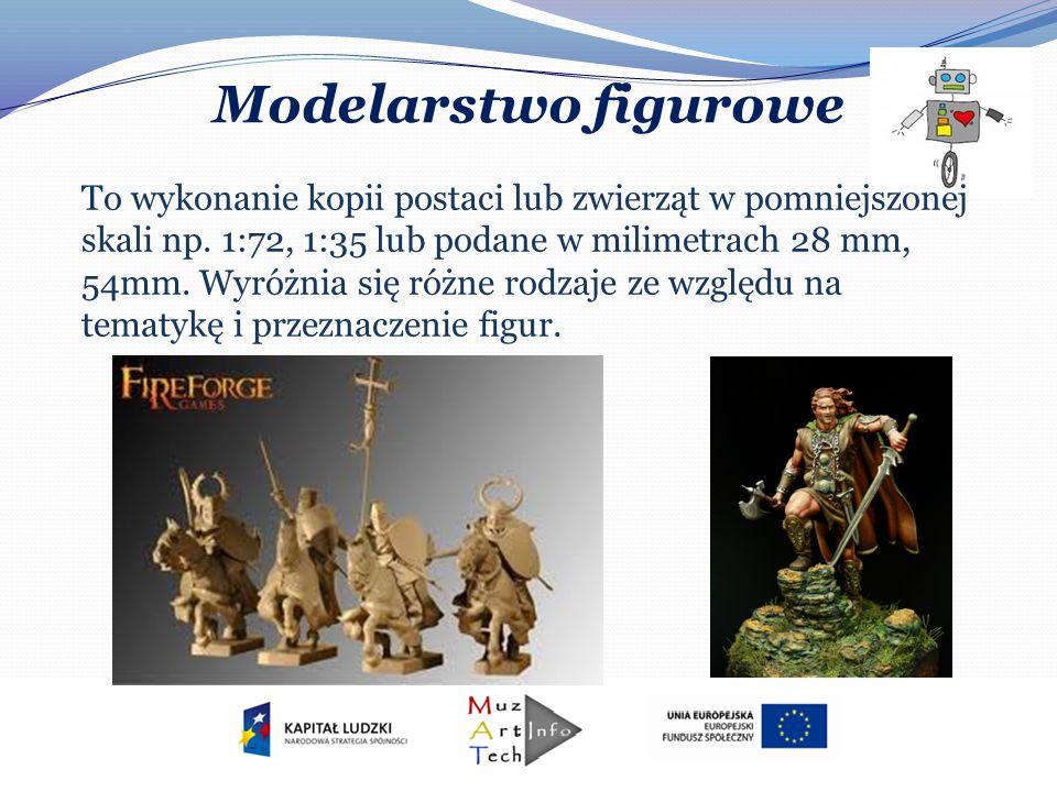 Modelarstwo figurowe To wykonanie kopii postaci lub zwierząt w pomniejszonej skali np. 1:72, 1:35 lub podane w milimetrach 28 mm, 54mm. Wyróżnia się r