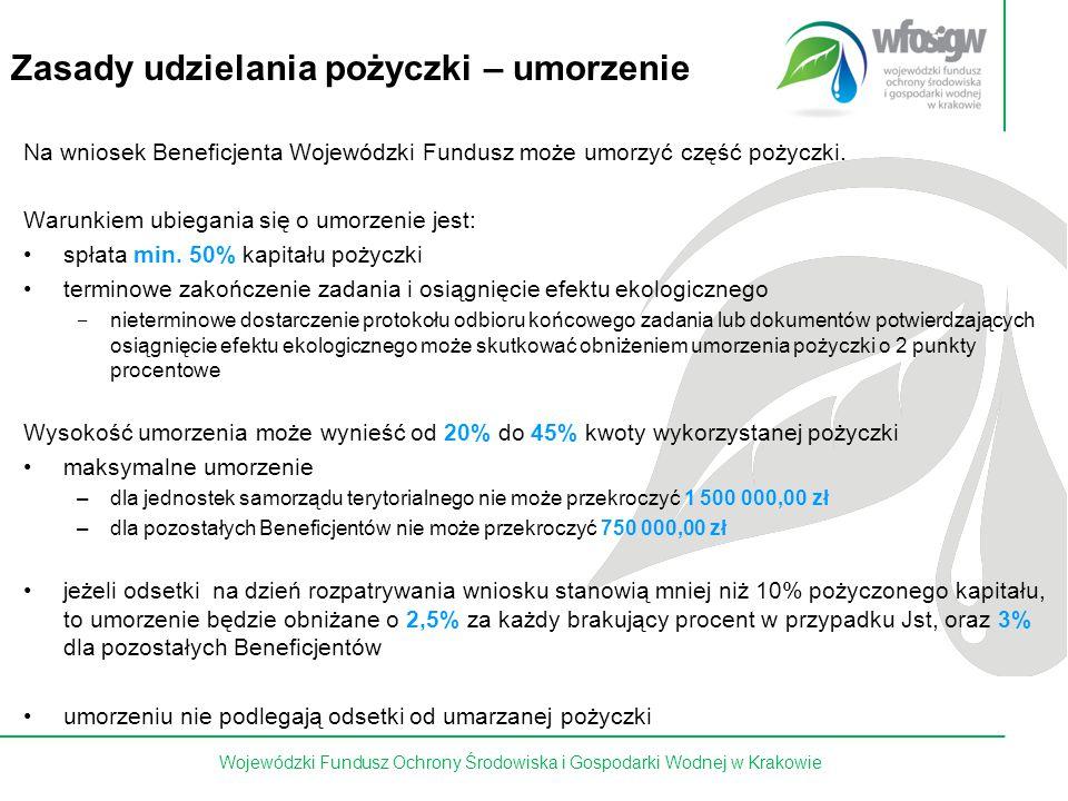 14 z 15 Zasady udzielania pożyczki – umorzenie Na wniosek Beneficjenta Wojewódzki Fundusz może umorzyć część pożyczki. Warunkiem ubiegania się o umorz