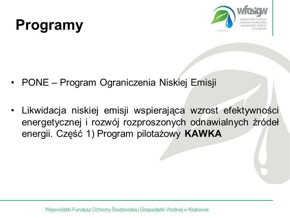 15 z 15 Programy PONE – Program Ograniczenia Niskiej Emisji Likwidacja niskiej emisji wspierająca wzrost efektywności energetycznej i rozwój rozproszonych odnawialnych źródeł energii.
