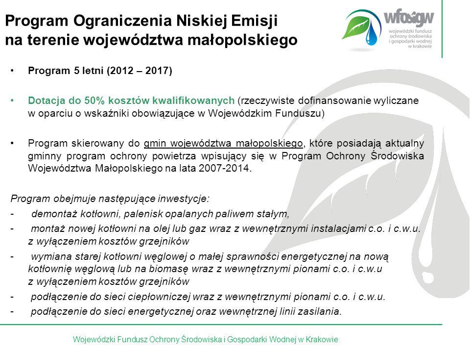 16 z 15 Program Ograniczenia Niskiej Emisji na terenie województwa małopolskiego Program 5 letni (2012 – 2017) Dotacja do 50% kosztów kwalifikowanych