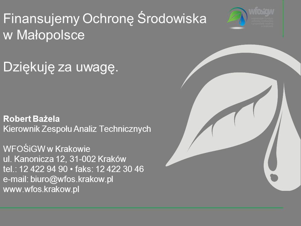 Robert Bażela Kierownik Zespołu Analiz Technicznych WFOŚiGW w Krakowie ul. Kanonicza 12, 31-002 Kraków tel.: 12 422 94 90 faks: 12 422 30 46 e-mail: b