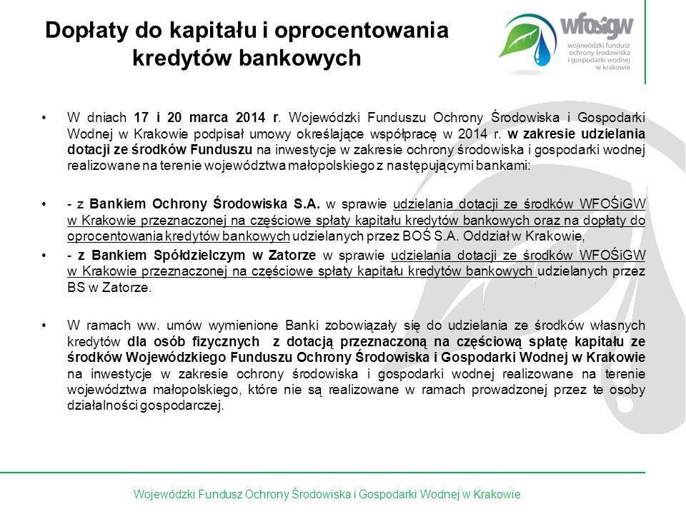 7 z 15 Dopłaty do kapitału i oprocentowania kredytów bankowych W dniach 17 i 20 marca 2014 r. Wojewódzki Funduszu Ochrony Środowiska i Gospodarki Wodn