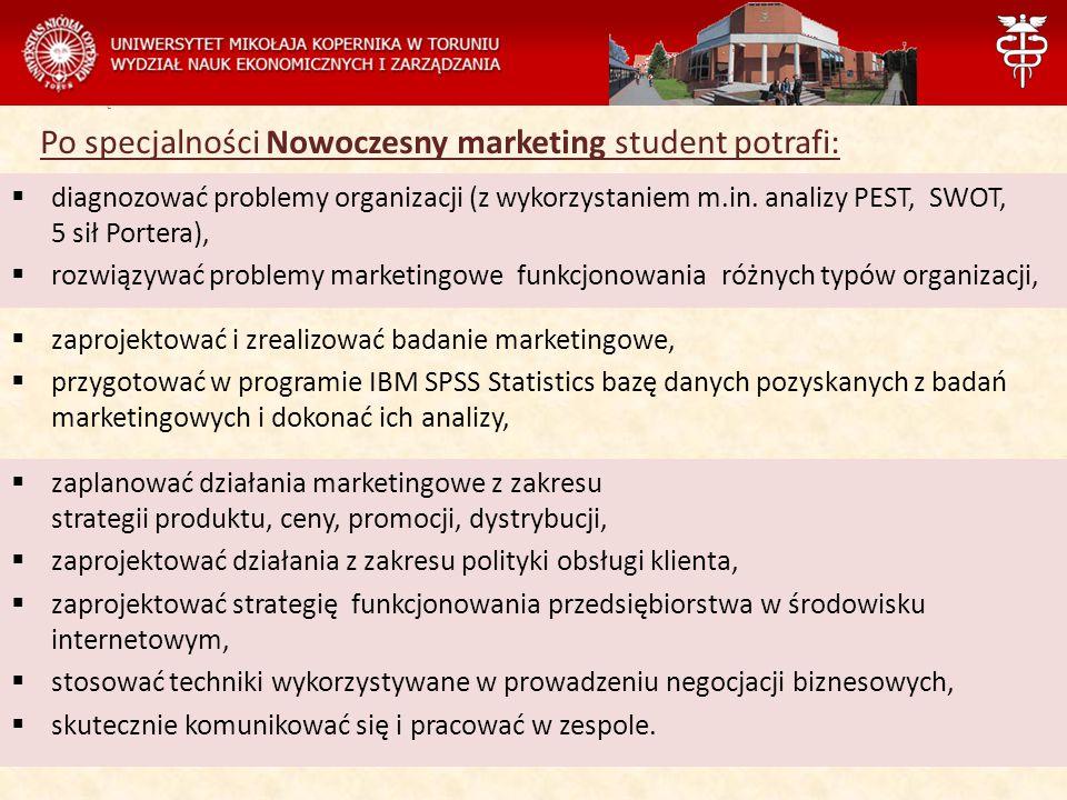 Zarządzanie Po specjalności Nowoczesny marketing student potrafi:  zaplanować działania marketingowe z zakresu strategii produktu, ceny, promocji, dy
