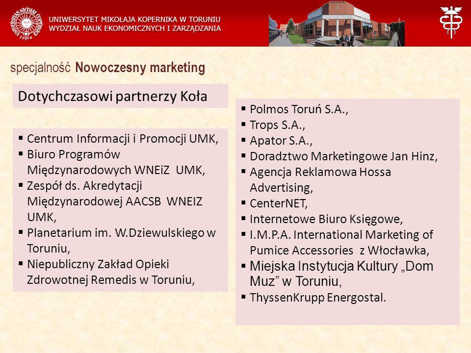 Zarządzanie Dotychczasowi partnerzy Koła specjalność Nowoczesny marketing  Centrum Informacji i Promocji UMK,  Biuro Programów Międzynarodowych WNEiZ UMK,  Zespół ds.