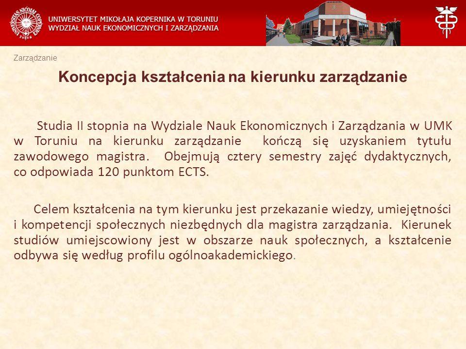 Zarządzanie Studia II stopnia na Wydziale Nauk Ekonomicznych i Zarządzania w UMK w Toruniu na kierunku zarządzanie kończą się uzyskaniem tytułu zawodowego magistra.