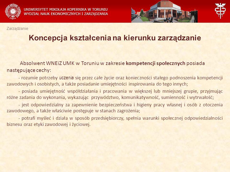 Zarządzanie Absolwent WNEiZ UMK w Toruniu w zakresie kompetencji społecznych posiada następujące cechy: - rozumie potrzeby uczenia się przez całe życi