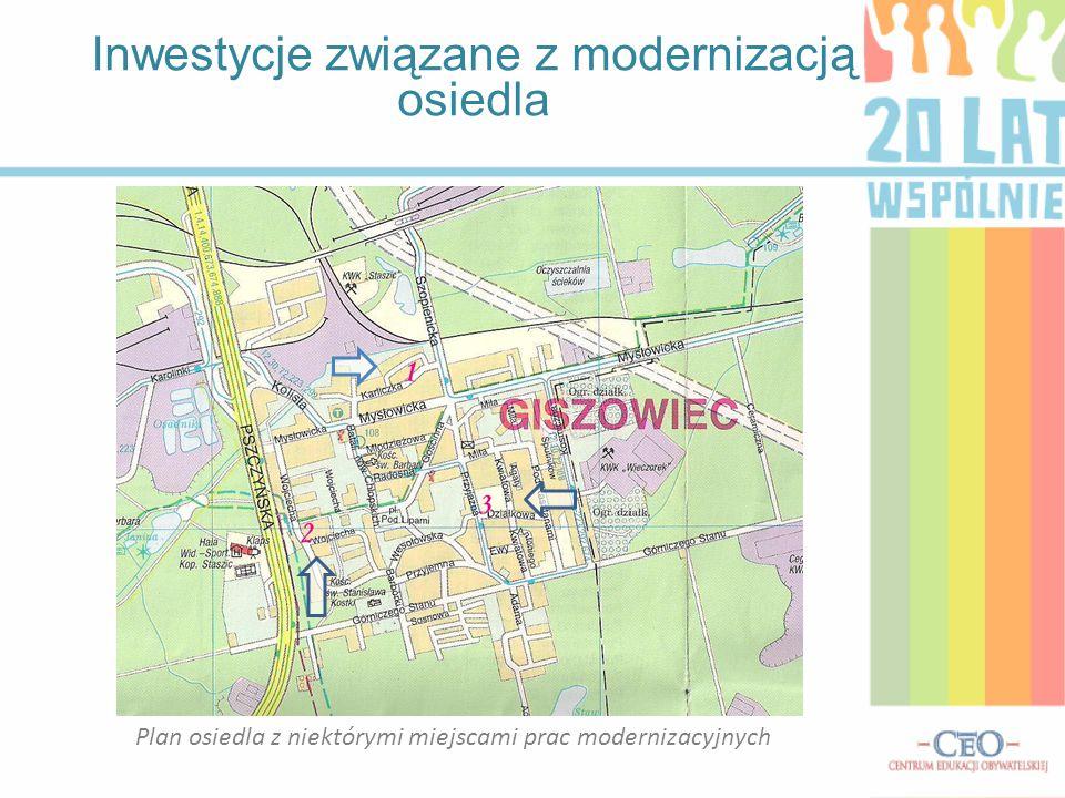 Plan osiedla z niektórymi miejscami prac modernizacyjnych Inwestycje związane z modernizacją osiedla