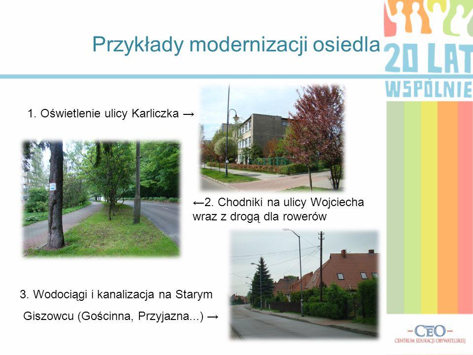 Przykłady modernizacji osiedla ←2. Chodniki na ulicy Wojciecha wraz z drogą dla rowerów 3. Wodociągi i kanalizacja na Starym Giszowcu (Gościnna, Przyj