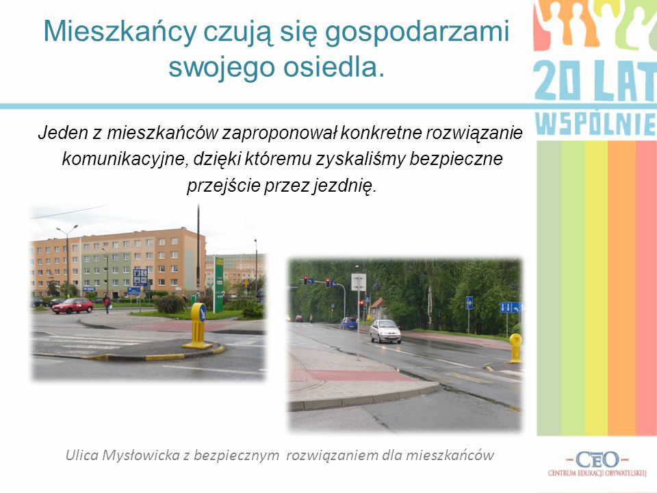 Ulica Mysłowicka z bezpiecznym rozwiązaniem dla mieszkańców Mieszkańcy czują się gospodarzami swojego osiedla. Jeden z mieszkańców zaproponował konkre