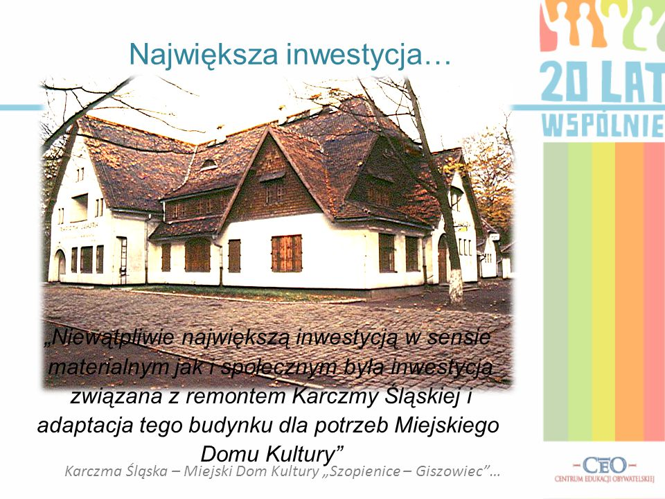 """Karczma Śląska – Miejski Dom Kultury """"Szopienice – Giszowiec""""… """"Niewątpliwie największą inwestycją w sensie materialnym jak i społecznym była inwestyc"""