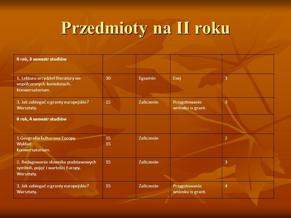 II rok, 3 semestr studiów 1. Lektura arcydzieł literatury we współczesnych kontekstach. Konwersatorium. 30EgzaminEsej3 3. Jak zabiegać o granty europe