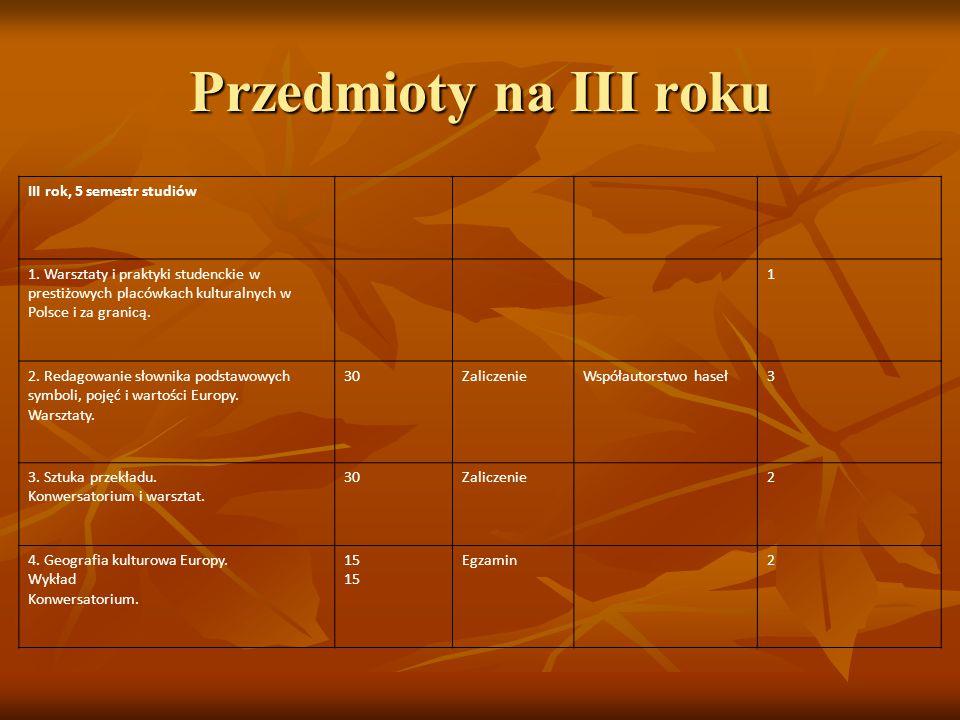 III rok, 5 semestr studiów 1. Warsztaty i praktyki studenckie w prestiżowych placówkach kulturalnych w Polsce i za granicą. 1 2. Redagowanie słownika