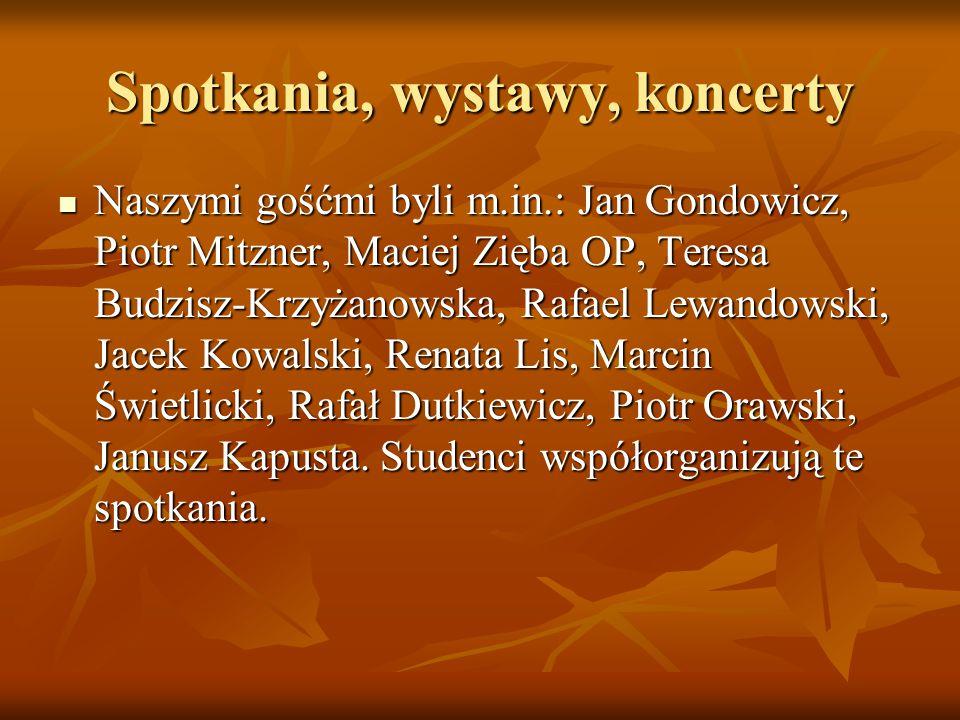 Spotkania, wystawy, koncerty Naszymi gośćmi byli m.in.: Jan Gondowicz, Piotr Mitzner, Maciej Zięba OP, Teresa Budzisz-Krzyżanowska, Rafael Lewandowski