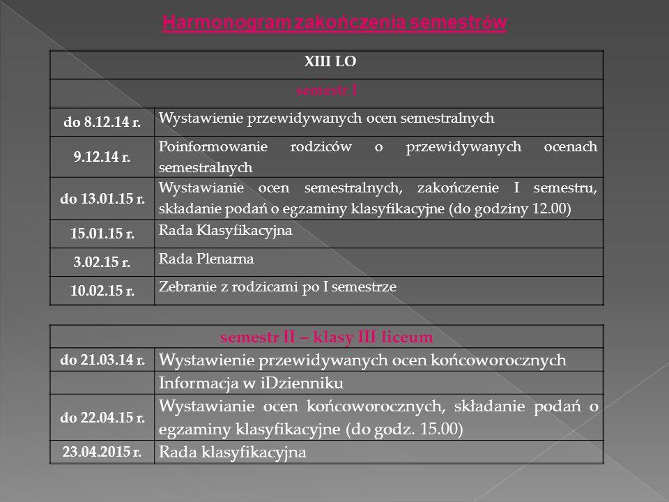 XIII LO semestr I do 8.12.14 r. Wystawienie przewidywanych ocen semestralnych 9.12.14 r. Poinformowanie rodziców o przewidywanych ocenach semestralnyc