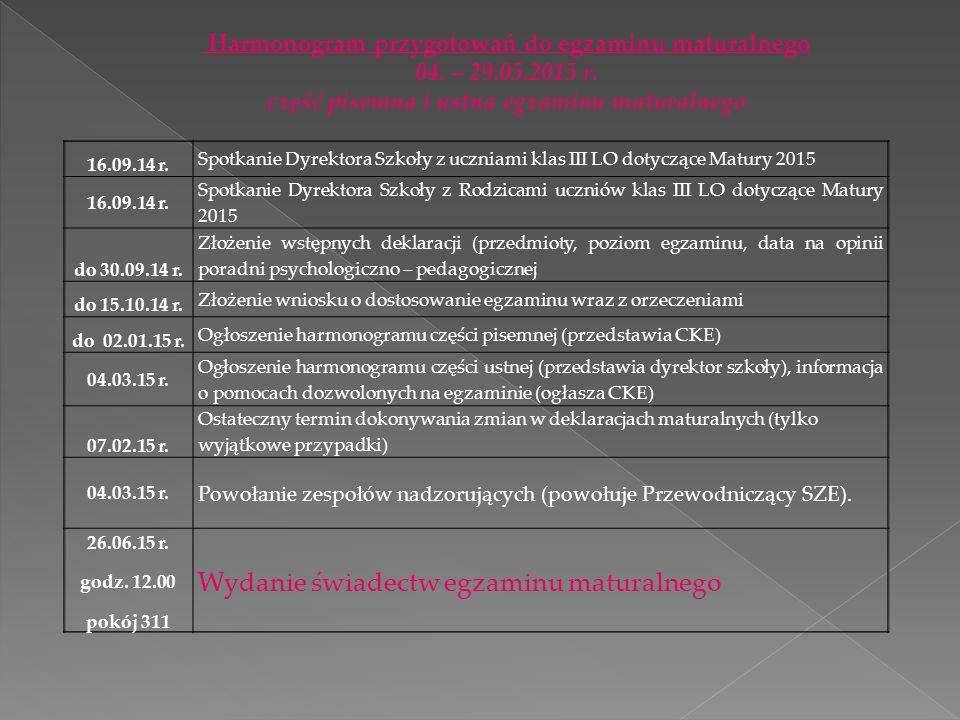 Część ustna egzaminu maturalnego z języka polskiego Sesja egzaminacyjna trwa od 11 do 23 maja 2015 roku.