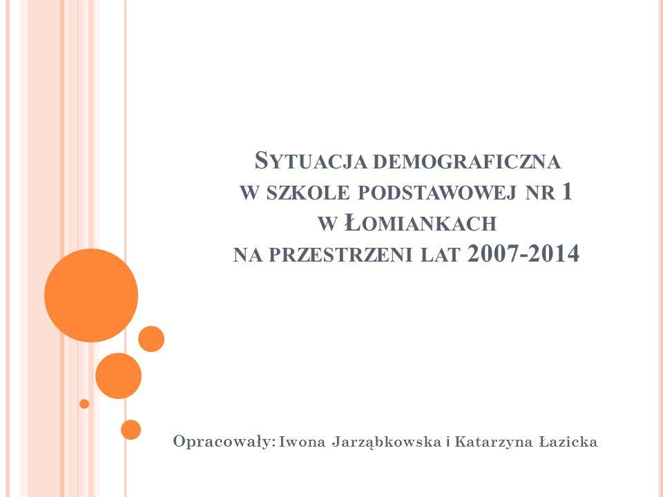 S YTUACJA DEMOGRAFICZNA W SZKOLE PODSTAWOWEJ NR 1 W Ł OMIANKACH NA PRZESTRZENI LAT 2007-2014 Opracowały: Iwona Jarząbkowska i Katarzyna Łazicka