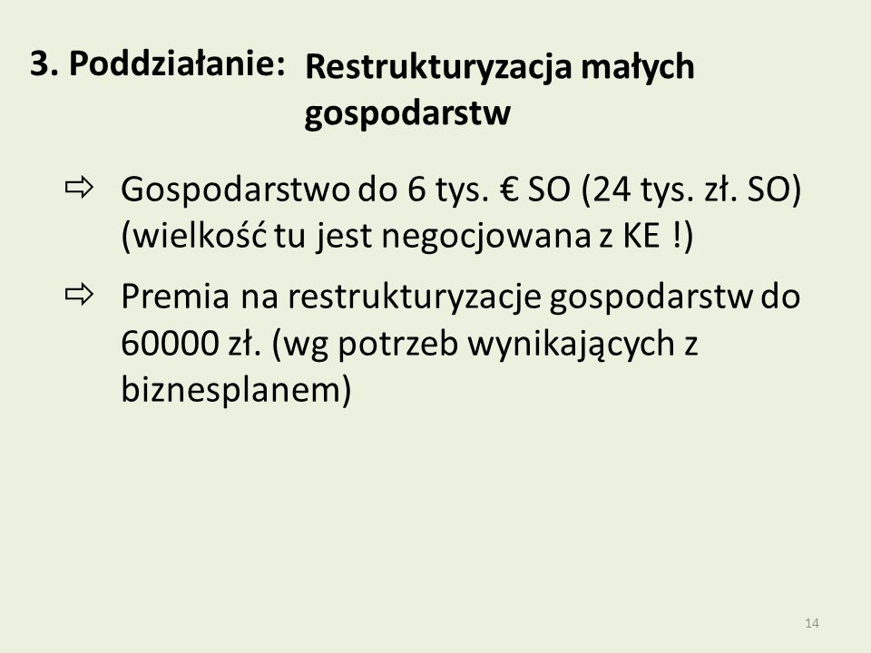 14 3.Poddziałanie: Restrukturyzacja małych gospodarstw  Gospodarstwo do 6 tys.
