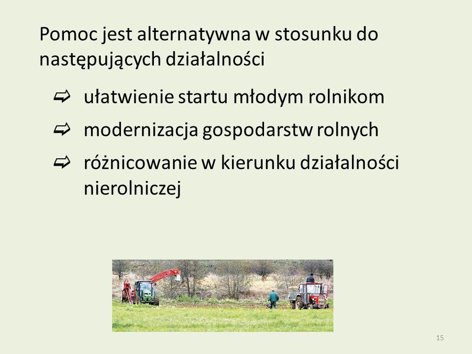 15 Pomoc jest alternatywna w stosunku do następujących działalności  ułatwienie startu młodym rolnikom  modernizacja gospodarstw rolnych  różnicowanie w kierunku działalności nierolniczej
