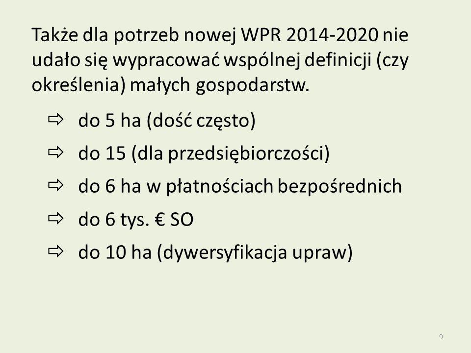 9 Także dla potrzeb nowej WPR 2014-2020 nie udało się wypracować wspólnej definicji (czy określenia) małych gospodarstw.