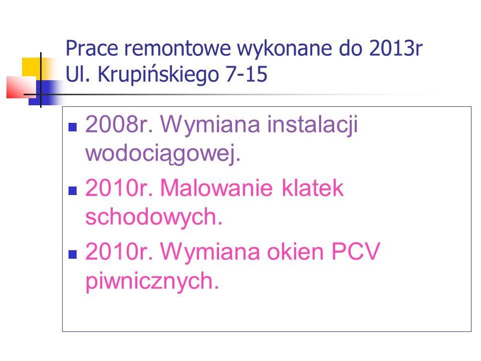 Prace remontowe wykonane do 2013r Ul. Krupińskiego 7-15 2008r.