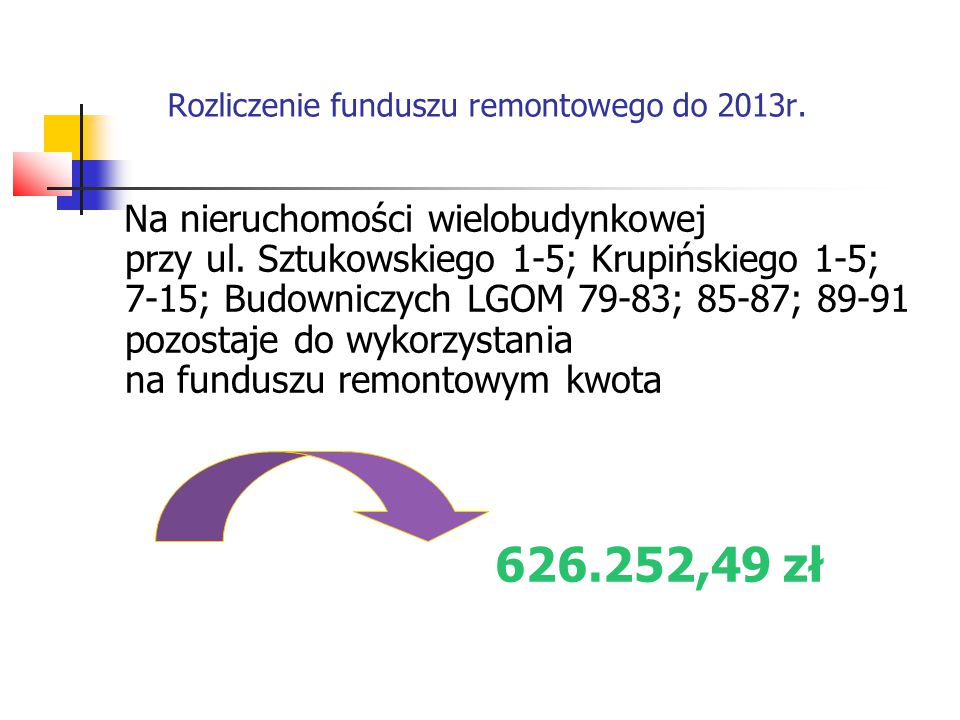 Rozliczenie funduszu remontowego do 2013r. Na nieruchomości wielobudynkowej przy ul.