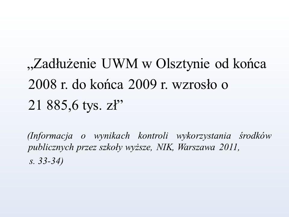 """""""Zadłużenie UWM w Olsztynie od końca 2008 r. do końca 2009 r. wzrosło o 21 885,6 tys. zł"""" (Informacja o wynikach kontroli wykorzystania środków public"""