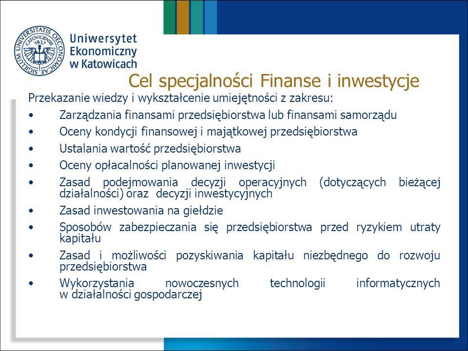 PrzedmiotSemestr Punkty ECTS Ilość godzin ĆwiczeniaWykład Rachunek wyników4415/-15/15 Zarządzanie projektami5430/-30/21 Inwestycje sektora publicznego5415/-30/21 Strategie inwestowania5430/-30/21 Giełdy i transakcje giełdowe6430/-30/18 Fundusze inwestycyjne i emerytalne63-30/15 System podatkowy6430/-30/21 Przedmioty specjalnościowe
