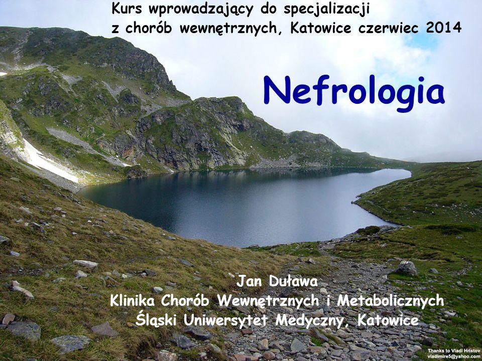 Nefrologia Jan Duława Klinika Chorób Wewnętrznych i Metabolicznych Śląski Uniwersytet Medyczny, Katowice Kurs wprowadzający do specjalizacji z chorób