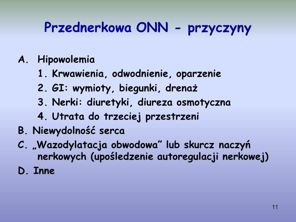 11 Przednerkowa ONN - przyczyny A.Hipowolemia 1. Krwawienia, odwodnienie, oparzenie 2. GI: wymioty, biegunki, drenaż 3. Nerki: diuretyki, diureza osmo