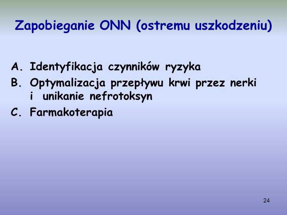 24 Zapobieganie ONN (ostremu uszkodzeniu) A.Identyfikacja czynników ryzyka B.Optymalizacja przepływu krwi przez nerki i unikanie nefrotoksyn C.Farmako