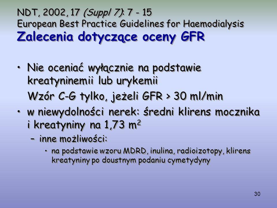 30 NDT, 2002, 17 (Suppl 7): 7 - 15 European Best Practice Guidelines for Haemodialysis Zalecenia dotyczące oceny GFR Nie oceniać wyłącznie na podstawi