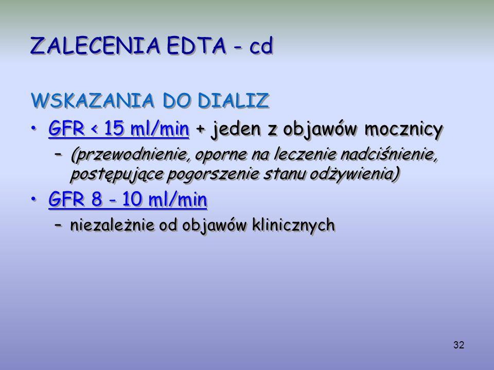32 ZALECENIA EDTA - cd WSKAZANIA DO DIALIZ GFR < 15 ml/min + jeden z objawów mocznicy –(przewodnienie, oporne na leczenie nadciśnienie, postępujące po