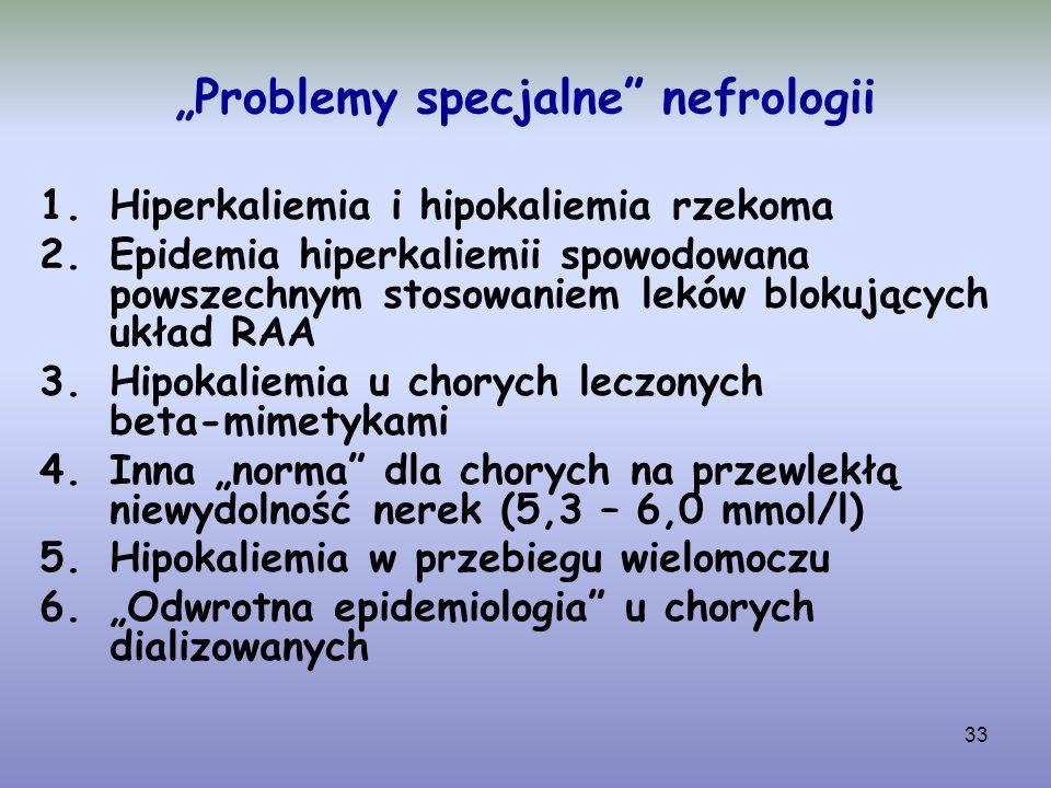 """33 """"Problemy specjalne"""" nefrologii 1.Hiperkaliemia i hipokaliemia rzekoma 2.Epidemia hiperkaliemii spowodowana powszechnym stosowaniem leków blokujący"""