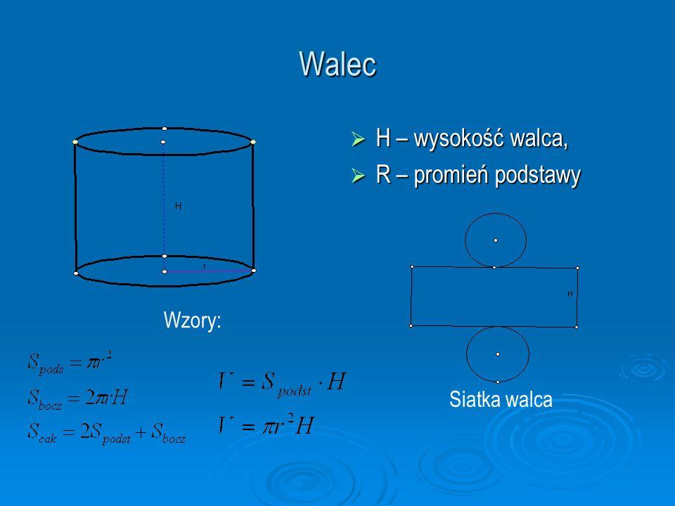 Walec  H – wysokość walca,  R – promień podstawy Siatka walca Wzory: