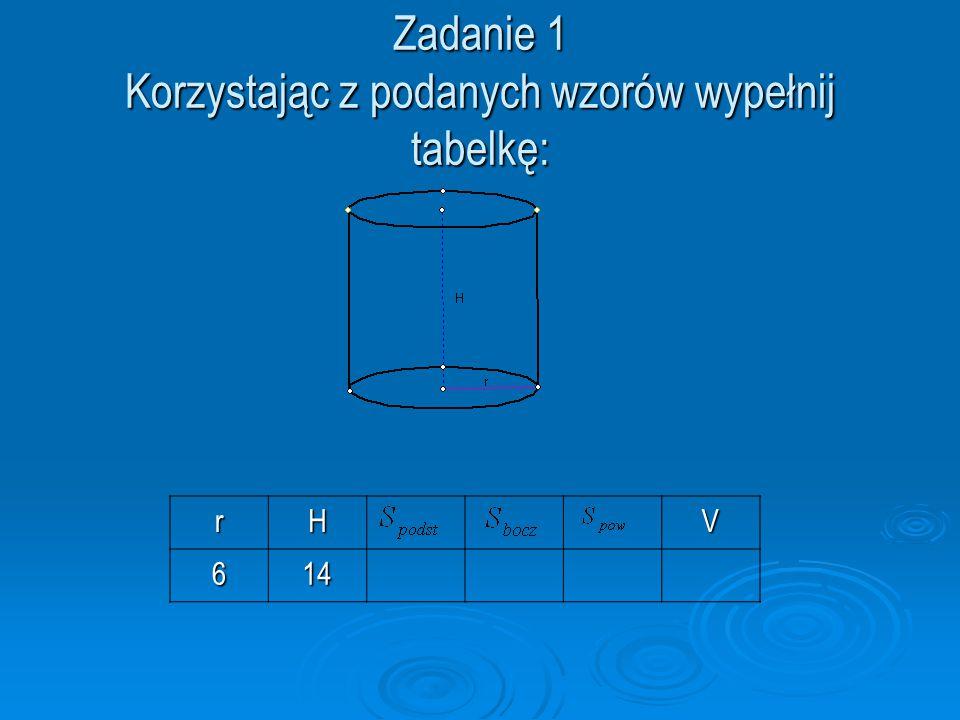 Zadanie 1 Korzystając z podanych wzorów wypełnij tabelkę: rHV614