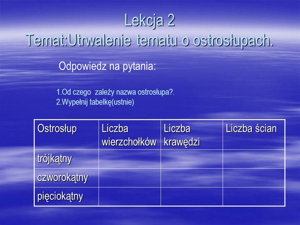 Lekcja 2 Temat:Utrwalenie tematu o ostrosłupach. Odpowiedz na pytania: 1.Od czego zależy nazwa ostrosłupa?. 2.Wypełnij tabelkę(ustnie) Ostrosłup Liczb